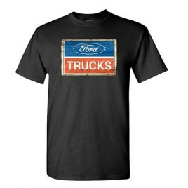 Colorful Ford Trucks Wood Look – Mens Cotton T-Shirt