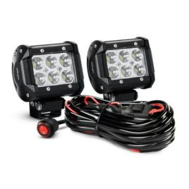 Nilight 18W Led Spot Beam Light Pods With Wiring Harness (Pair)