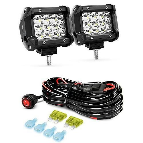 Nilight 4-Inch 36W LED Spot Light Pods With Wiring Harness
